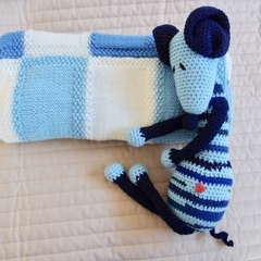 Crochet baby blanket, Blues and Creams: Cot, Pram, Travel, Baby capsule, Car