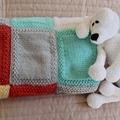 Crochet baby blanket, Blues and Creams: Cot, Pram, Travel, Baby capsule, Car