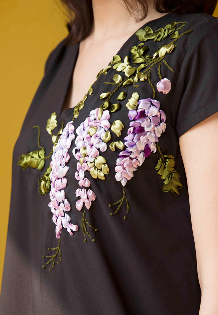 Wisteria Ribbon Embroidery A Line Dress A Little Happiness