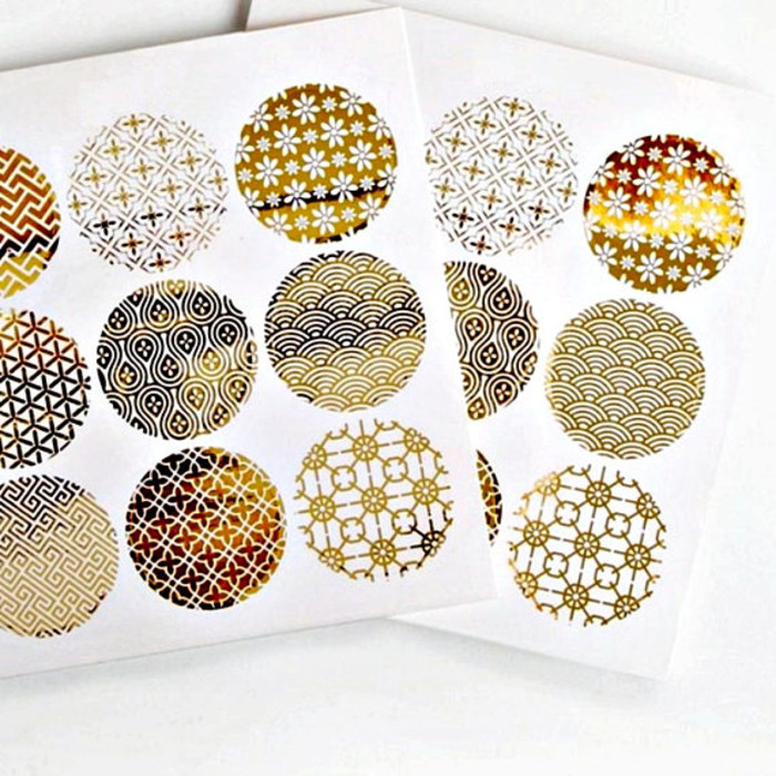 Japanese print 18 gold foil transparent seals round gold stickers seals