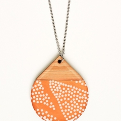Copper and white dots  teardrop wooden pendant.