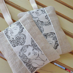 Lavender Bags - Linen/Cotton with Angel Faces