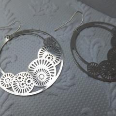 Rhodium Plated Hand Cast Filigree Sundial Earrings with nickel freel hooks