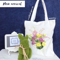 Rosy-Handmade ribbon embroidery tote bag