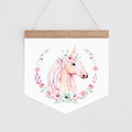 Wall Banner - Whimsical Unicorn - watercolour pastel unicorn with flowers
