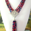 Amazing Tourmaline and Cubic Zirconia Multi-strand Quality Colorful Necklace.