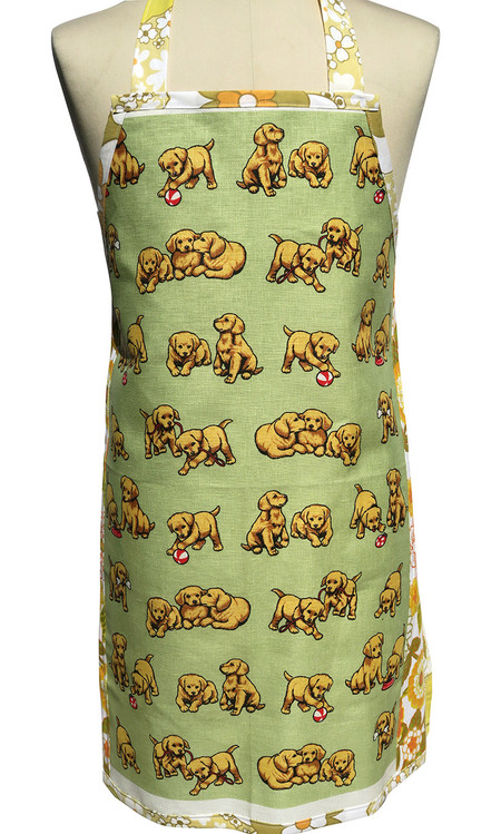 Metro Retro PUPPY DOGS Vintage Tea Towel Apron. Birthday Christmas