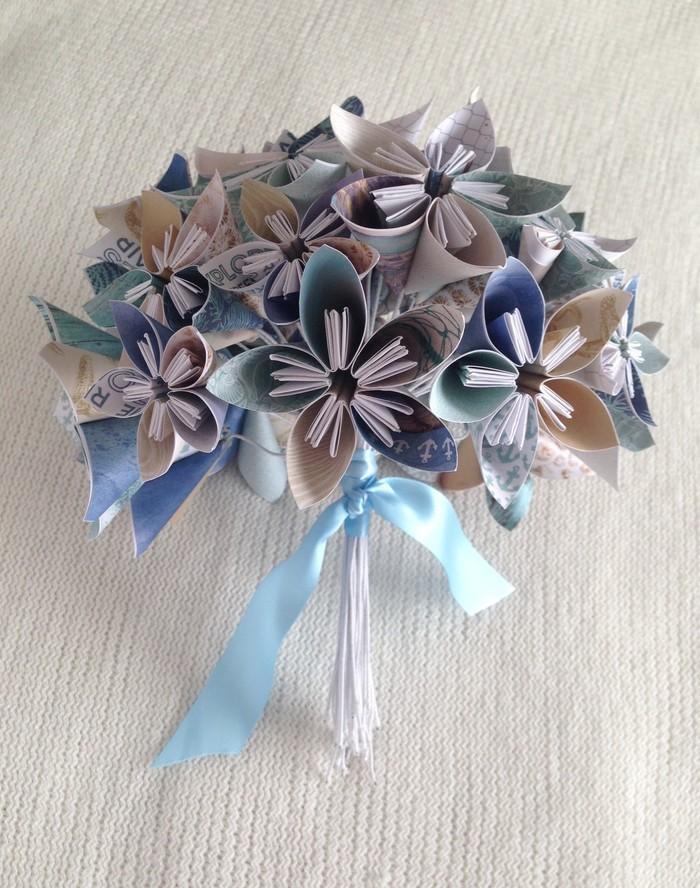 Powder blue and white kusudama paper flower bouquet maggies powder blue and white kusudama paper flower bouquet mightylinksfo