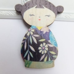 Blue Japanese Doll Brooch