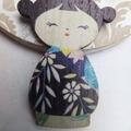 Blue Japanese Doll Brooch