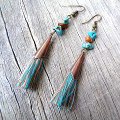 Turquoise and Copper Tone Tassel Earrings