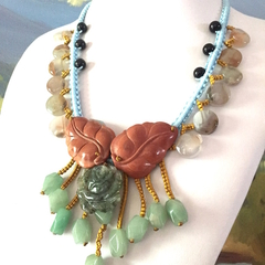 Natural MOSS AGATE -Carved Flower, Aventurine Hand-crocheted Necklace.