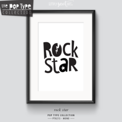 A4 PRINT / ROCK STAR   typography art print   minimalist monochrome PT213M