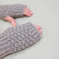 Medium adult fingerless gloves - taupe grey / soft merino wool / unisex