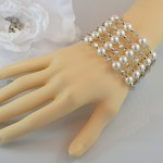 Pearl and Crystal Multi Strand Beaded Bracelet - Silver