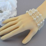 Crystal and Pearl Multi Strand Bracelet - Silver