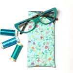 Aqua Floral Fabric Glasses/Sunnies Case
