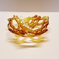 Alcohol Ink Fused Glass Lattice Bowl Yellow