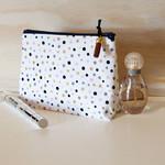 Makeup bag, gold and pink spot, Cosmetic bag, Mothers gift, Make up bag