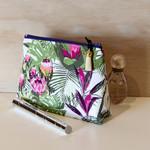 Makeup bag, tropical, Cosmetic bag, Mothers gift, Make up bag, White & pink