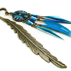 Bohemian Blue and Bronze Feather Bookmark