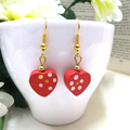 Hand Painted Wooden Red Heart Earrings