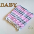 Pink, Grey & White Newborn Hand Crocheted Baby Blanket