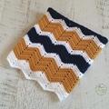 Mustard, Navy Blue & White Chevron Newborn Hand Crocheted Baby Blanket
