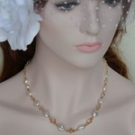 Freshwater Pearl and Crystal Necklace - 14k Gold Filled