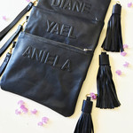 Personalised 3D Lettering Leather Clutch Custom Name,  Wristlet & Fringe Tassel