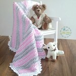 Pink, Grey & White Newborn Hand Crocheted Baby Blanket