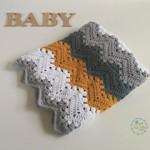 Mustard, Grey & White Chevron Newborn Hand Crocheted Baby Blanket