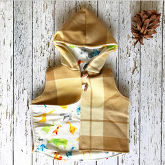 Upcycled wool vest with origami animal lining size 3