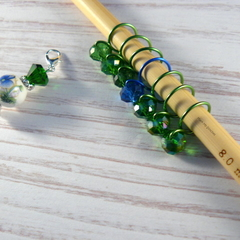 Bead Hugging Snag Free Emerald and Sapphire Flower  Stitch Markers