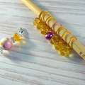 Bead Hugging Snag Free Amber and Fuchsia Flower  Stitch Markers