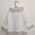Crochet Jacket for a toddler - white with 'fur' cuffs and collar. Fits 2 years