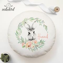 Personalised Enchanted Bunny Floral Wreath cushion, round cushion