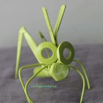 Recycled and re purposed scrap metal art painted grasshopper 'Janis'