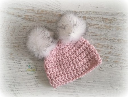 Dusty Pink Crochet Baby Beanie with Faux Fur Pompoms 0-3 months