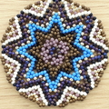 Star Beaded Pendant Necklace Boho  Brown Purple Blue Gold Star