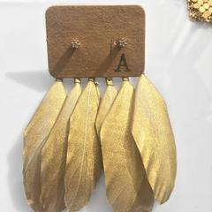 Triple feather gold ear jackets