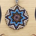 Star Beaded Pendant Necklace Boho  Brown Purple Blue Gold Star
