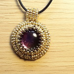 Dichroic Glass pendant Necklace Purple Pink gold