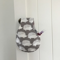 Reversible small project bag for knitting or crocheting (hedgehogs and trees)