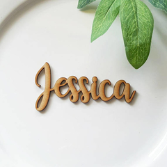 Laser cut wooden MDF name place cards for Weddings, Functions and Dinner parties