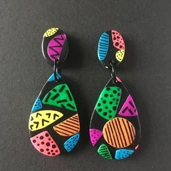 Colourful Abstract Statement Dangles - Polymer Clay