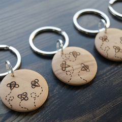 Wood Burnt Little Bees Keyring