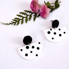 Black & White Dotty Half Moon Earrings, Polymer Clay Earrings, Handmade