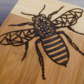 Wood Burnt Tribal Bee Bamboo Cutting Board