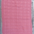 Hand Knitted Raspberry Pink Pure Wool Baby Rug/Blanket, with Cable Design